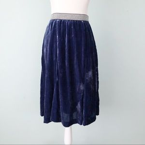 Anthropologie Maeve Covo Blue Velvet Skirt Size 4